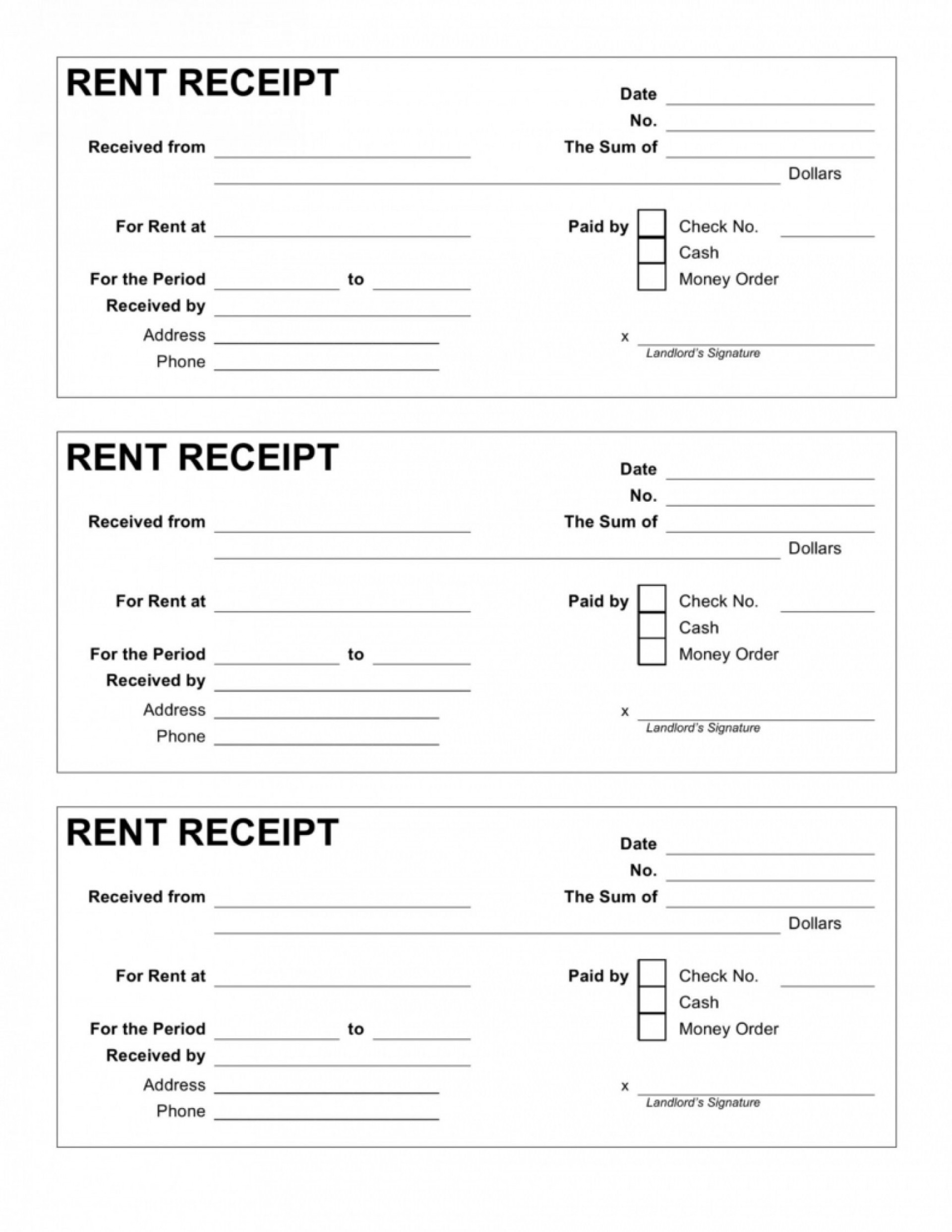 004 Exceptional House Rent Receipt Template India Doc Idea  Format Download1920