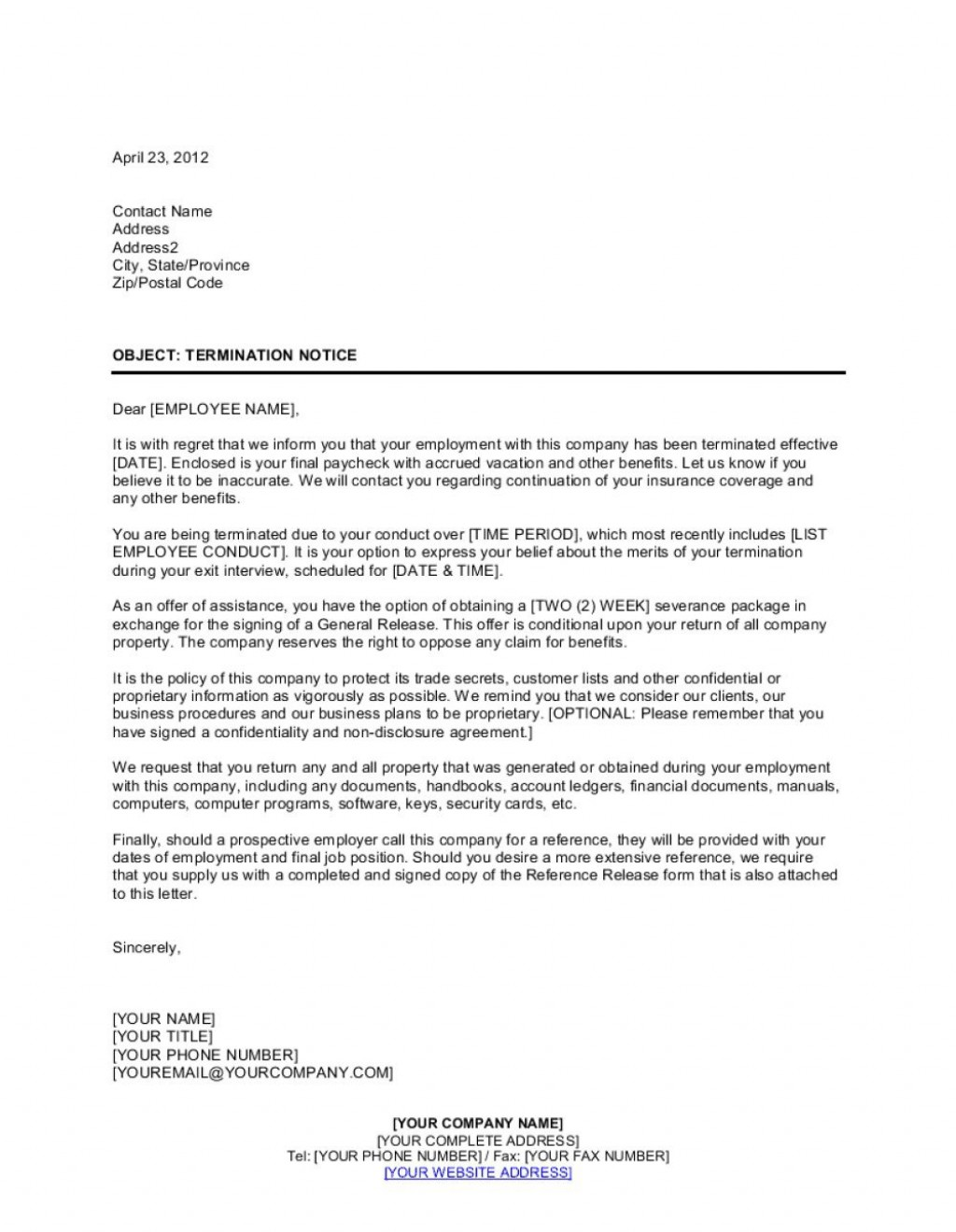 Sample Letter Of Termination Of Employment from www.addictionary.org