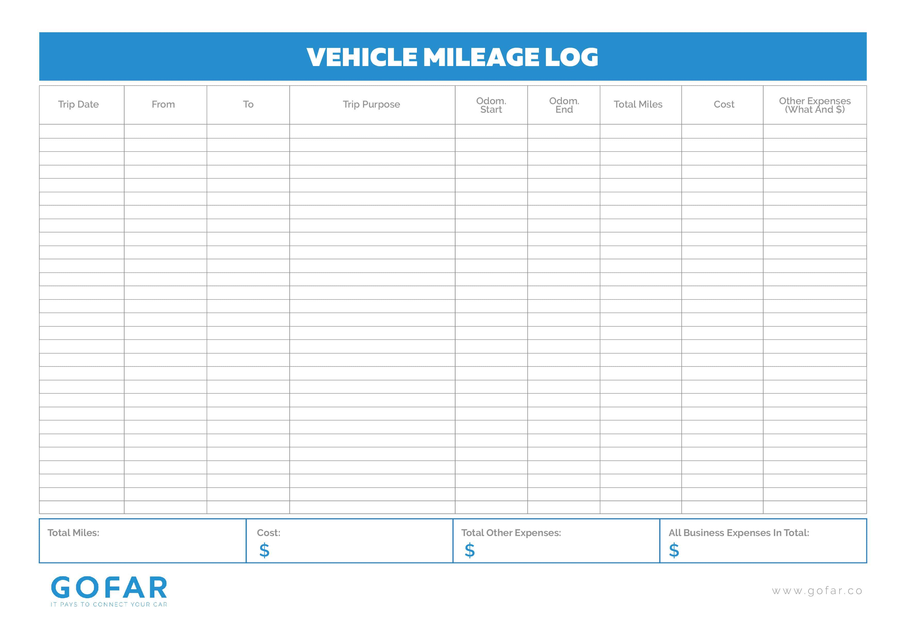 004 Exceptional Mileage Log Printable Template Photo  Book ExcelFull