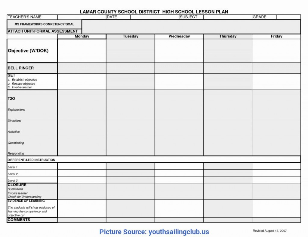 004 Exceptional One Day Lesson Plan Template Picture  Example FormatLarge