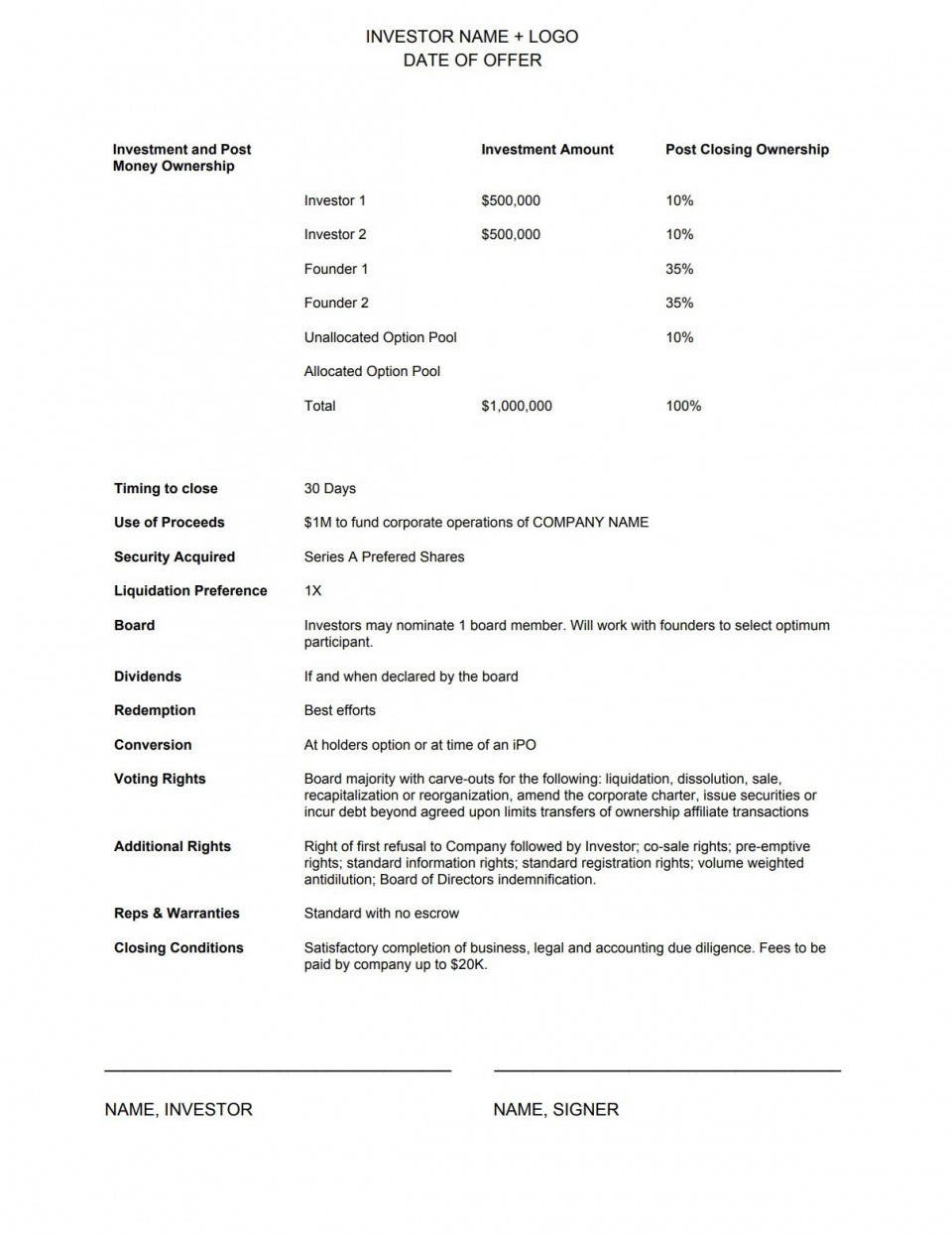 004 Exceptional Term Sheet Template Word Photo  Simple Loan Microsoft960