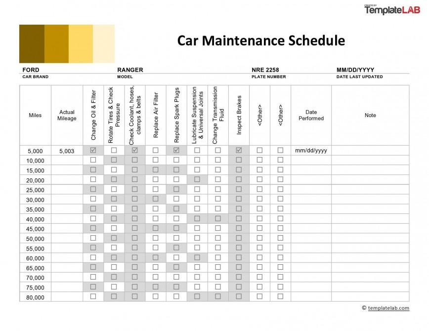 Vehicle Maintenance Schedule Template Addictionary