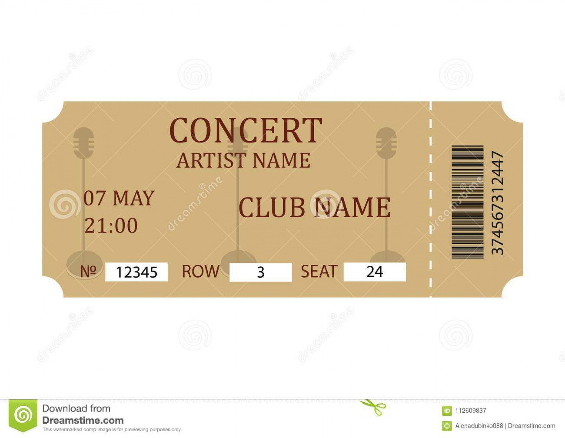 004 Exceptional Vintage Concert Ticket Template Free Download Sample 1920