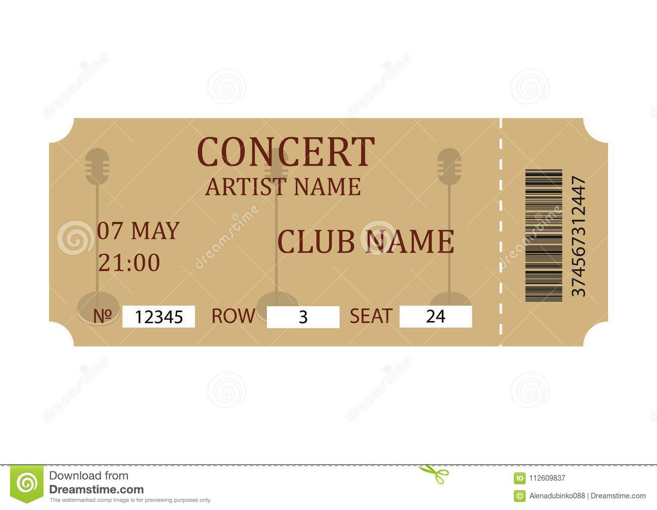 004 Exceptional Vintage Concert Ticket Template Free Download Sample Full