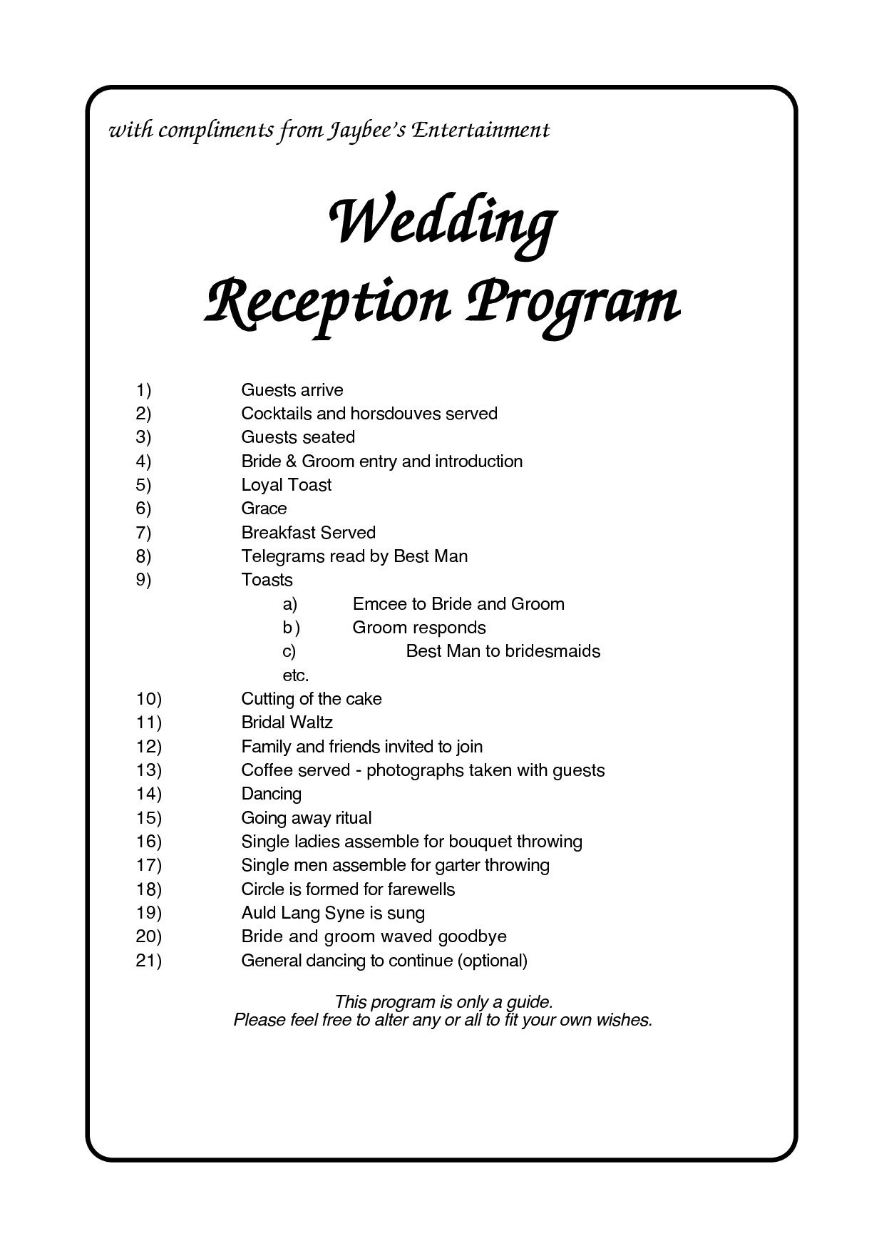 004 Exceptional Wedding Reception Program Template Photo  Templates Layout Free Download Ceremony AndFull