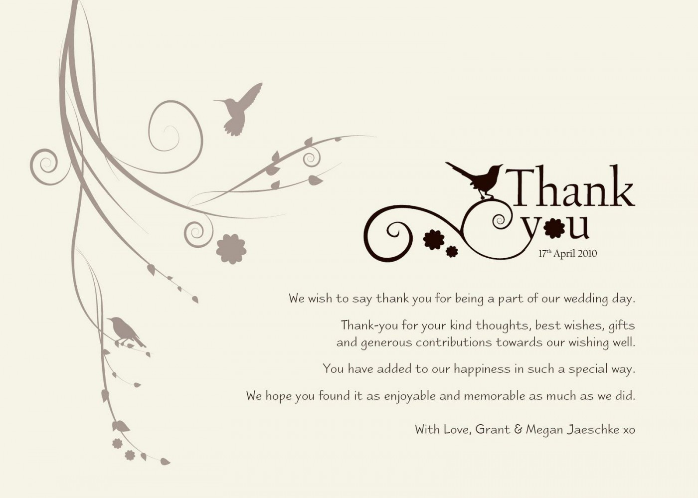 004 Exceptional Wedding Thank You Note Template Sample  Example Wording For Money Gift Shower1400