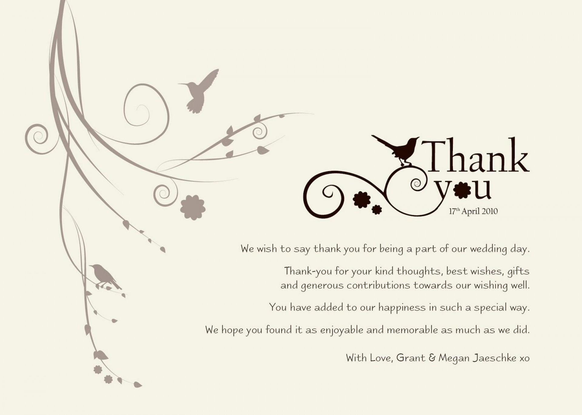 004 Exceptional Wedding Thank You Note Template Sample  Money Wording Bridal Shower Gift1920