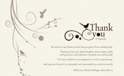 004 Exceptional Wedding Thank You Note Template Sample  Shower Gift Present Bridal