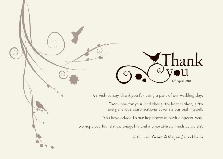004 Exceptional Wedding Thank You Note Template Sample  Example Wording For Money Gift Shower728