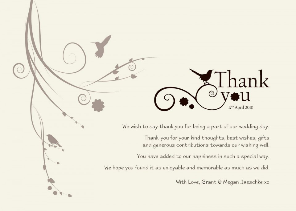 004 Exceptional Wedding Thank You Note Template Sample  Example Wording For Money Gift Shower960