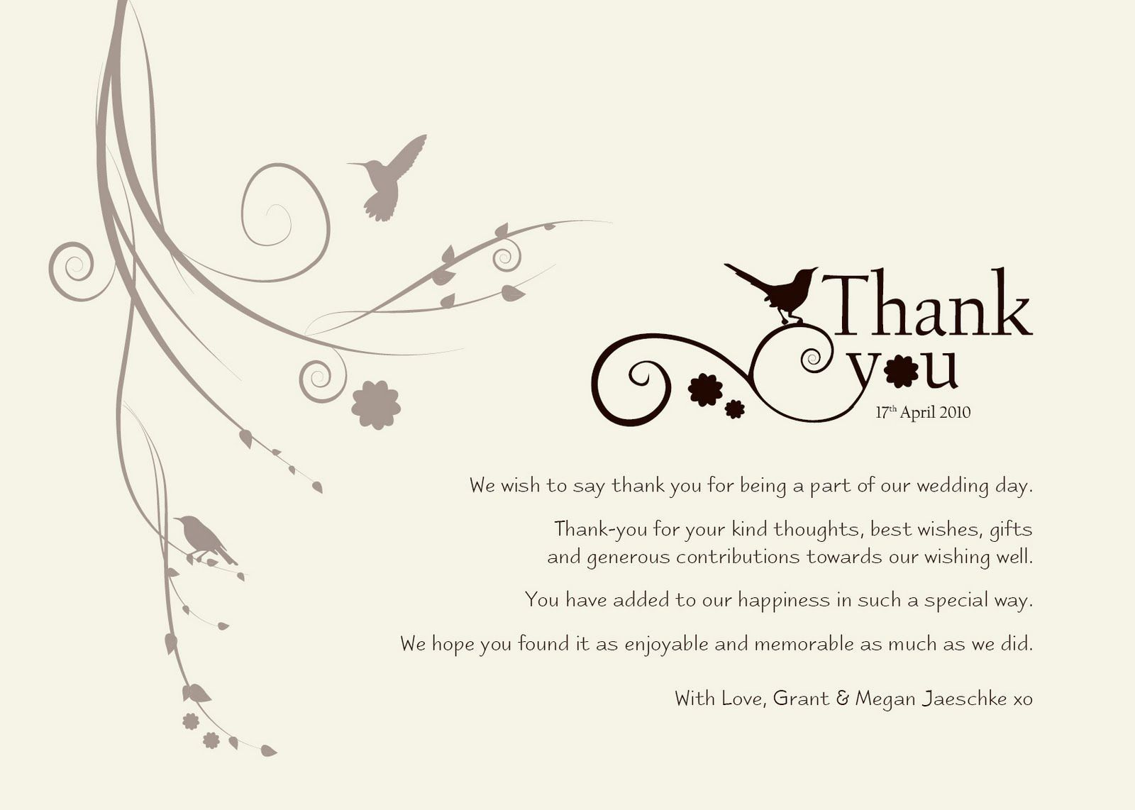 004 Exceptional Wedding Thank You Note Template Sample  Example Wording For Money Gift ShowerFull