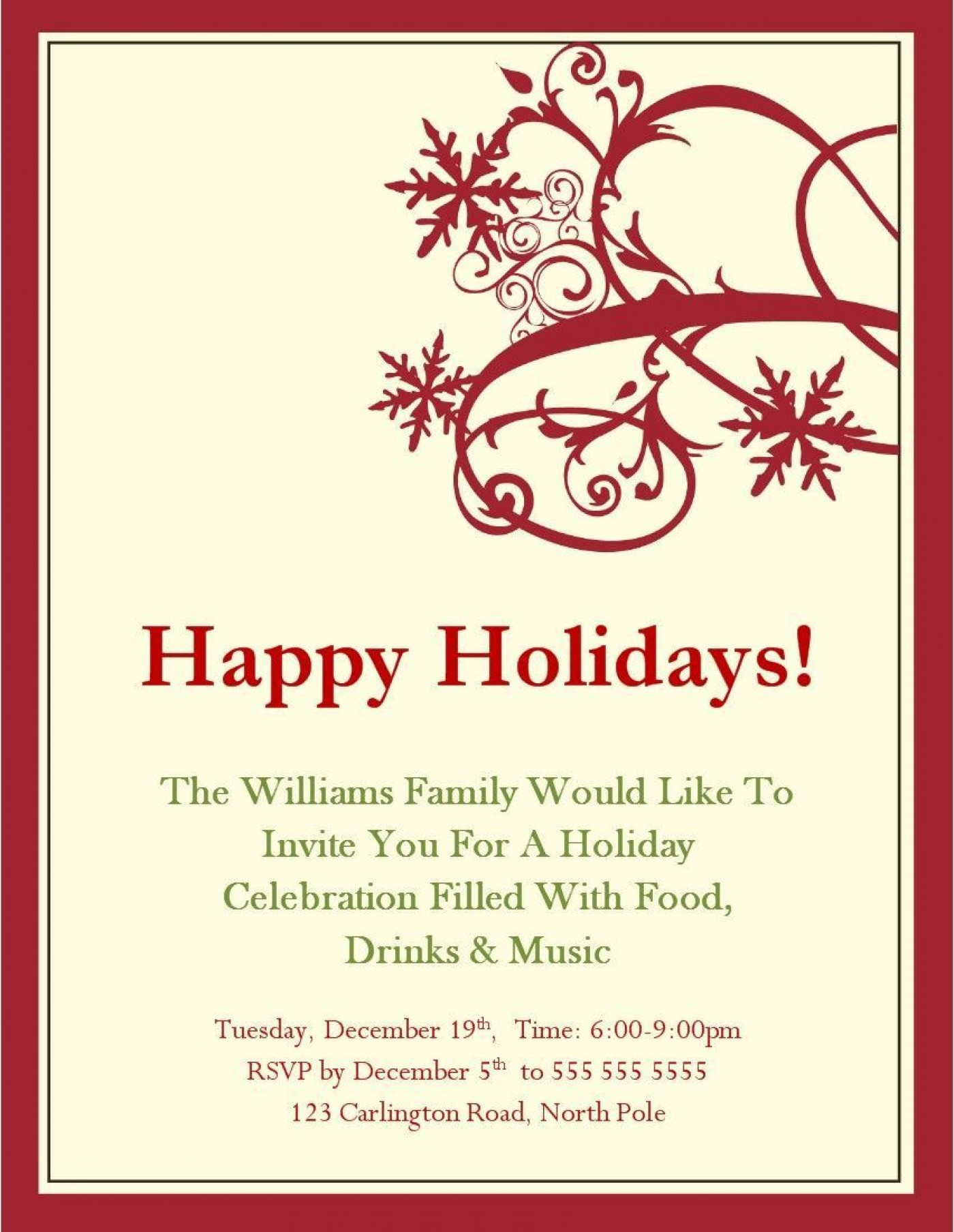 004 Exceptional Xma Party Invite Template Free Sample  Holiday Invitation Word Download Christma1400