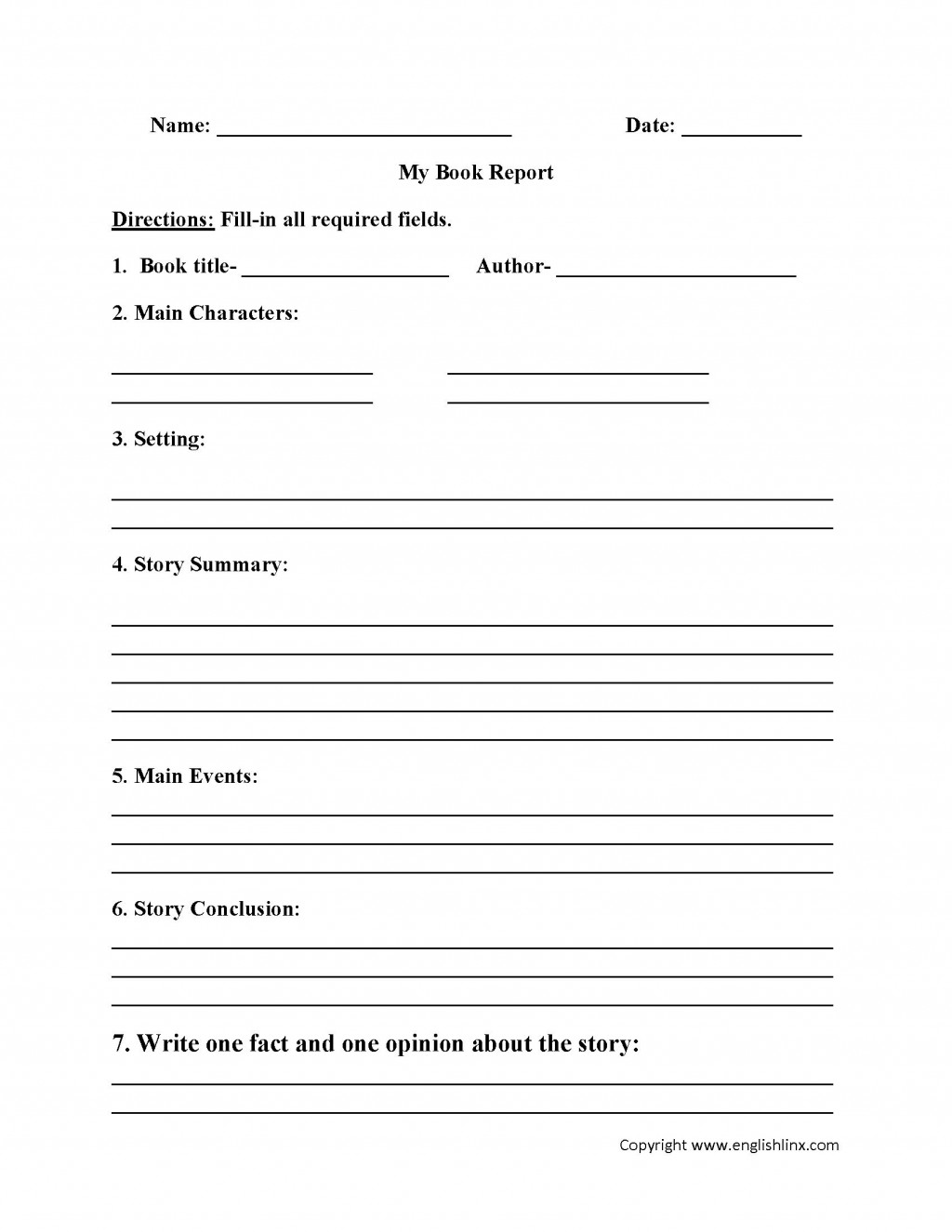 004 Fantastic 6th Grade Book Report Template Idea  Sixth Format Printable Middle SchoolLarge