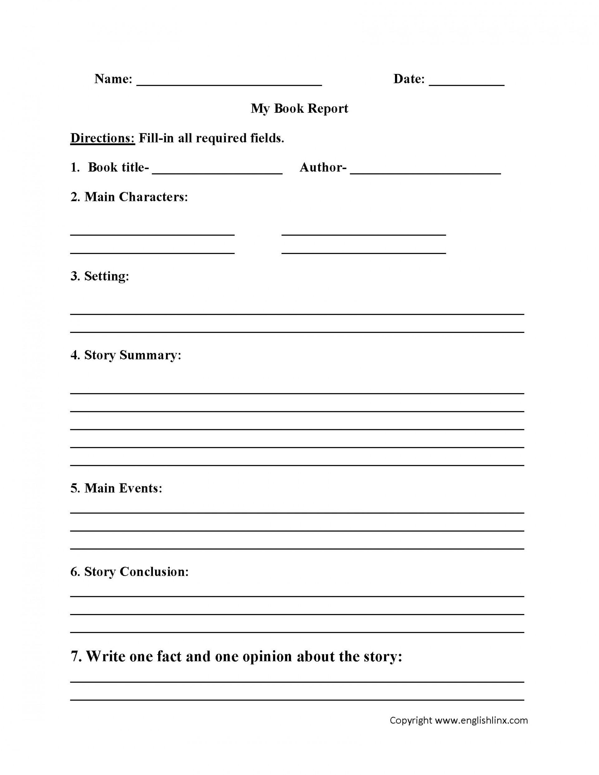 004 Fantastic 6th Grade Book Report Template Idea  Sixth Format Printable Middle School1920