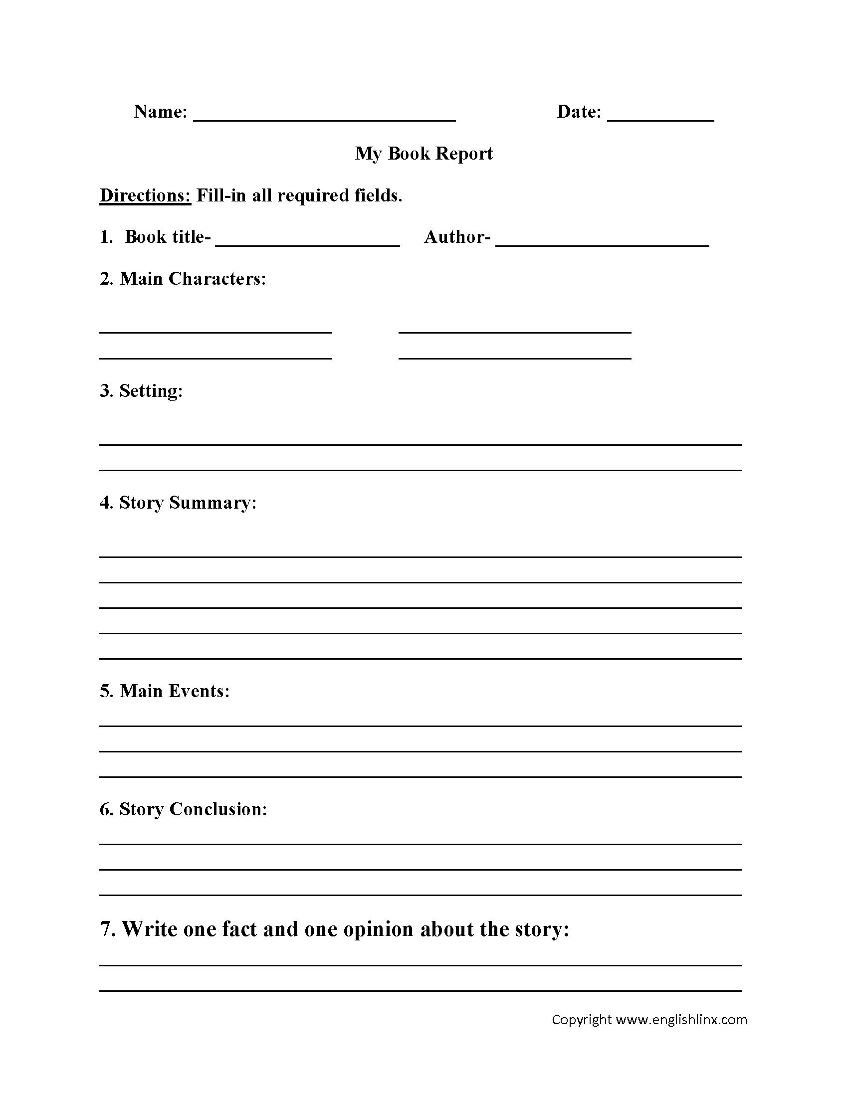 004 Fantastic 6th Grade Book Report Template Idea  Sixth Format Printable Middle SchoolFull