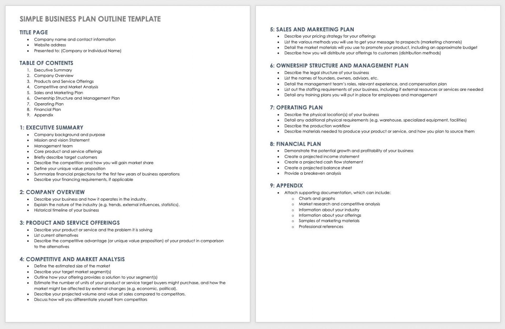 004 Fantastic Basic Busines Plan Template Inspiration  Templates Simple Uk Free Restaurant Sample Pdf Word1920