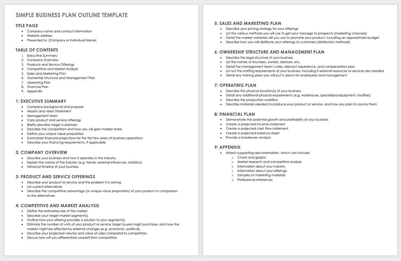 004 Fantastic Basic Busines Plan Template Inspiration  Templates Simple Uk Free Restaurant Sample Pdf WordFull