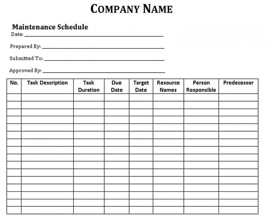 004 Fantastic Car Maintenance Schedule Template Picture  Company Checklist Heavy Vehicle Service