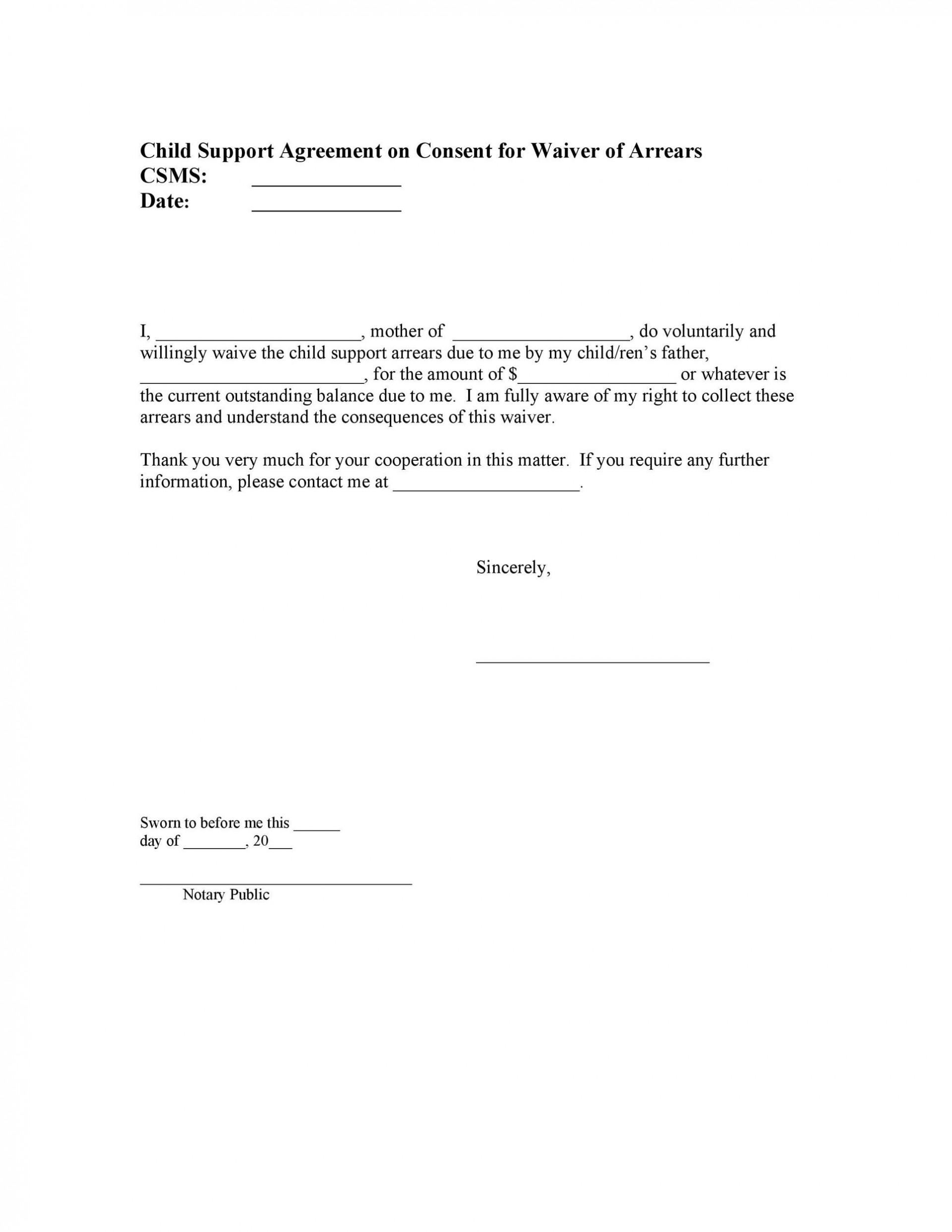004 Fantastic Child Support Agreement Template Example  Australia Bc Alberta1920