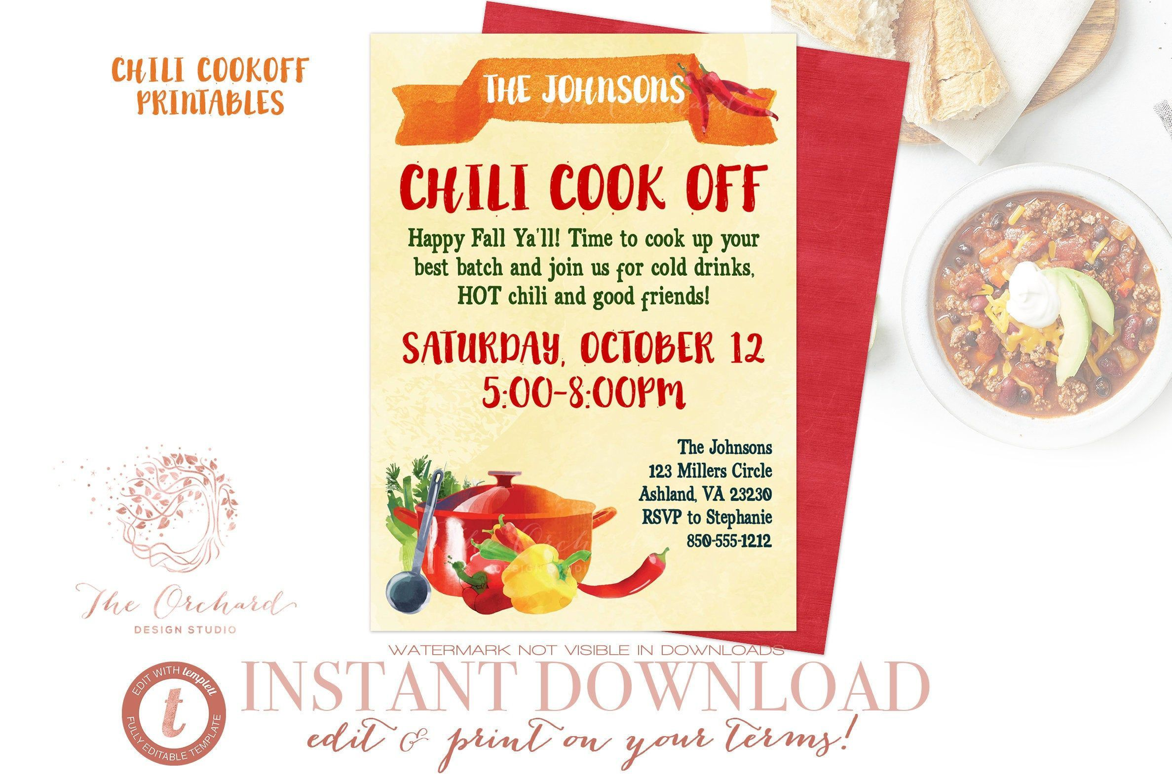 004 Fantastic Chili Cook Off Flyer Template Sample  Halloween Office PowerpointFull