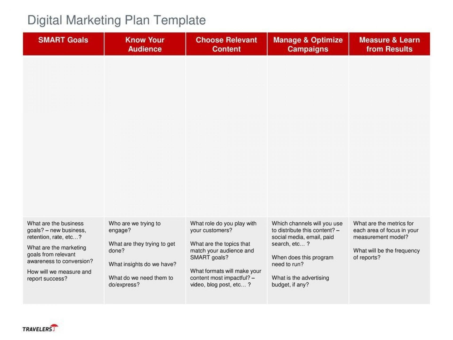 004 Fantastic Digital Marketing Plan Example Doc Idea  Template Sample1920