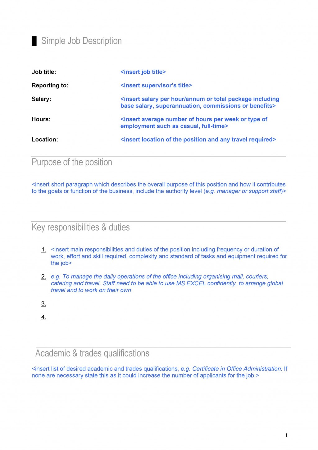 004 Fantastic Employee Role And Responsibilitie Template Excel Idea Large