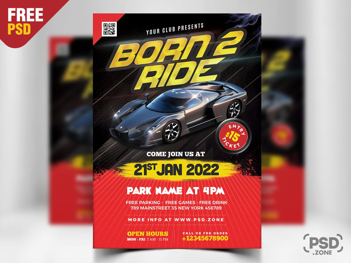 004 Fantastic Free Car Show Flyer Template High Definition  Psd And BikeFull