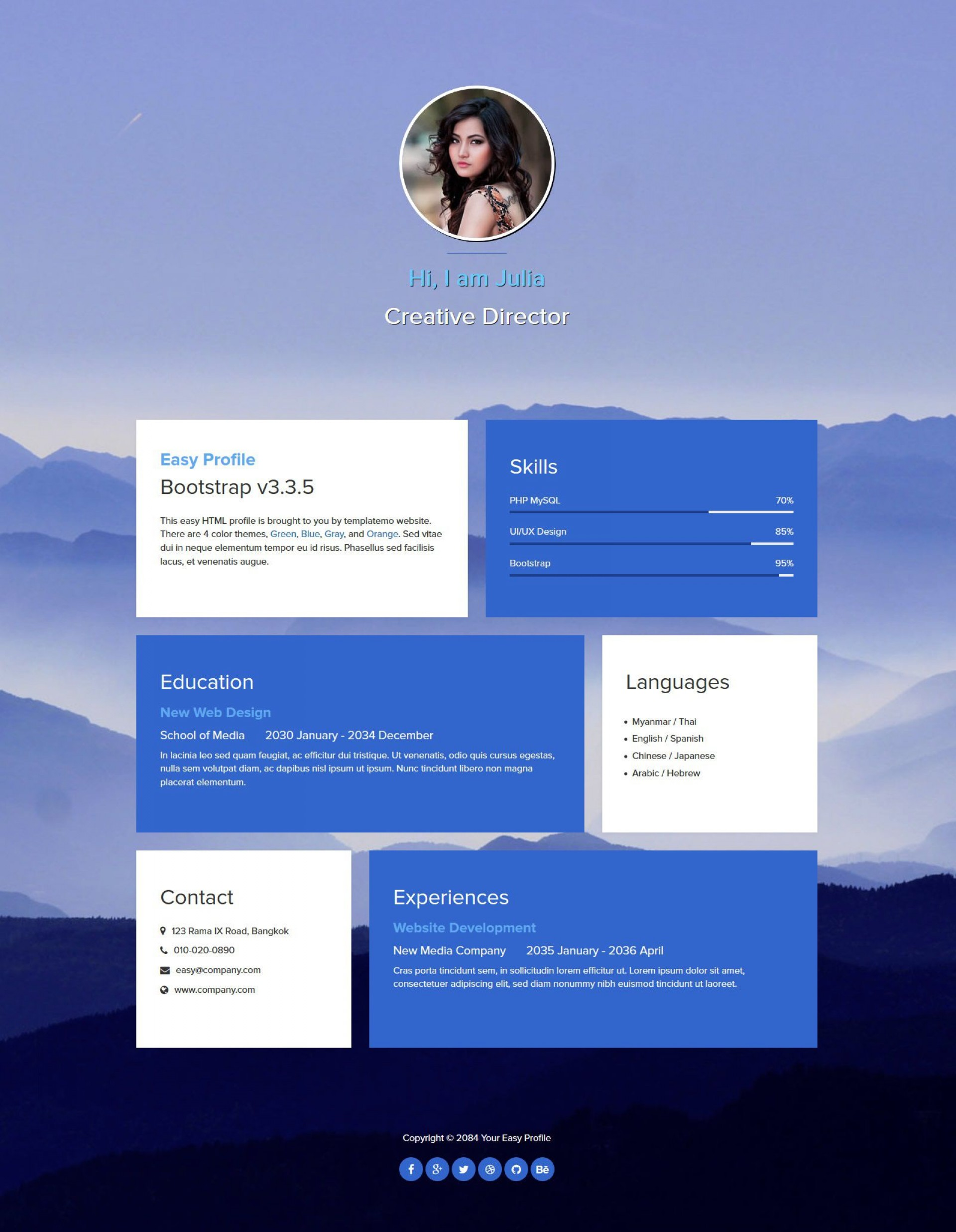 004 Fantastic One Page Website Template Free Download Html Example  Simple With Cs Responsive1920