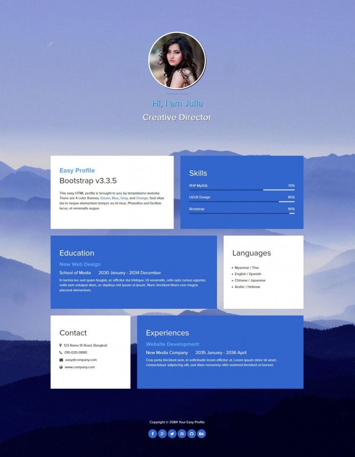 004 Fantastic One Page Website Template Free Download Html Example  Simple With Cs Responsive728