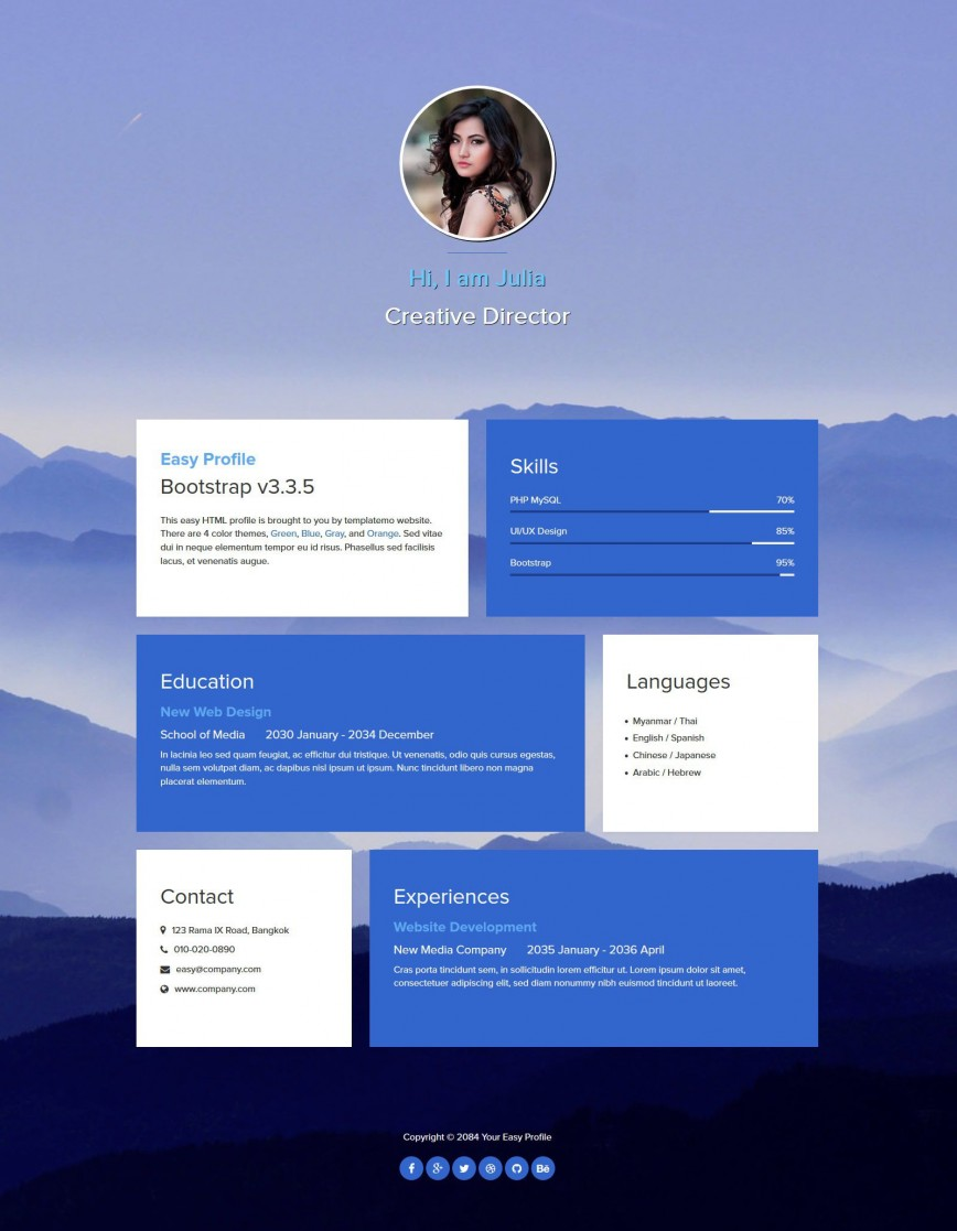 004 Fantastic One Page Website Template Free Download Html Example  Simple With Cs Responsive868