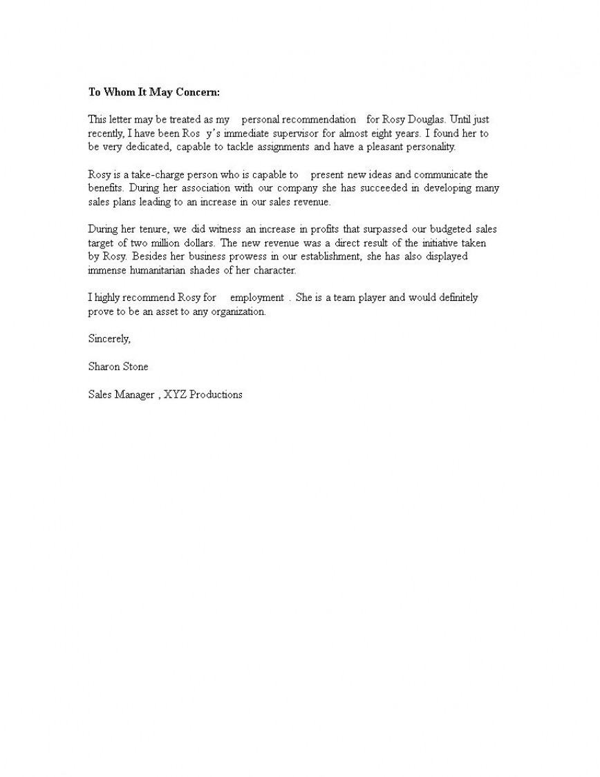 004 Fantastic Personal Letter Of Recommendation Template Photo  For A Friend Assistant