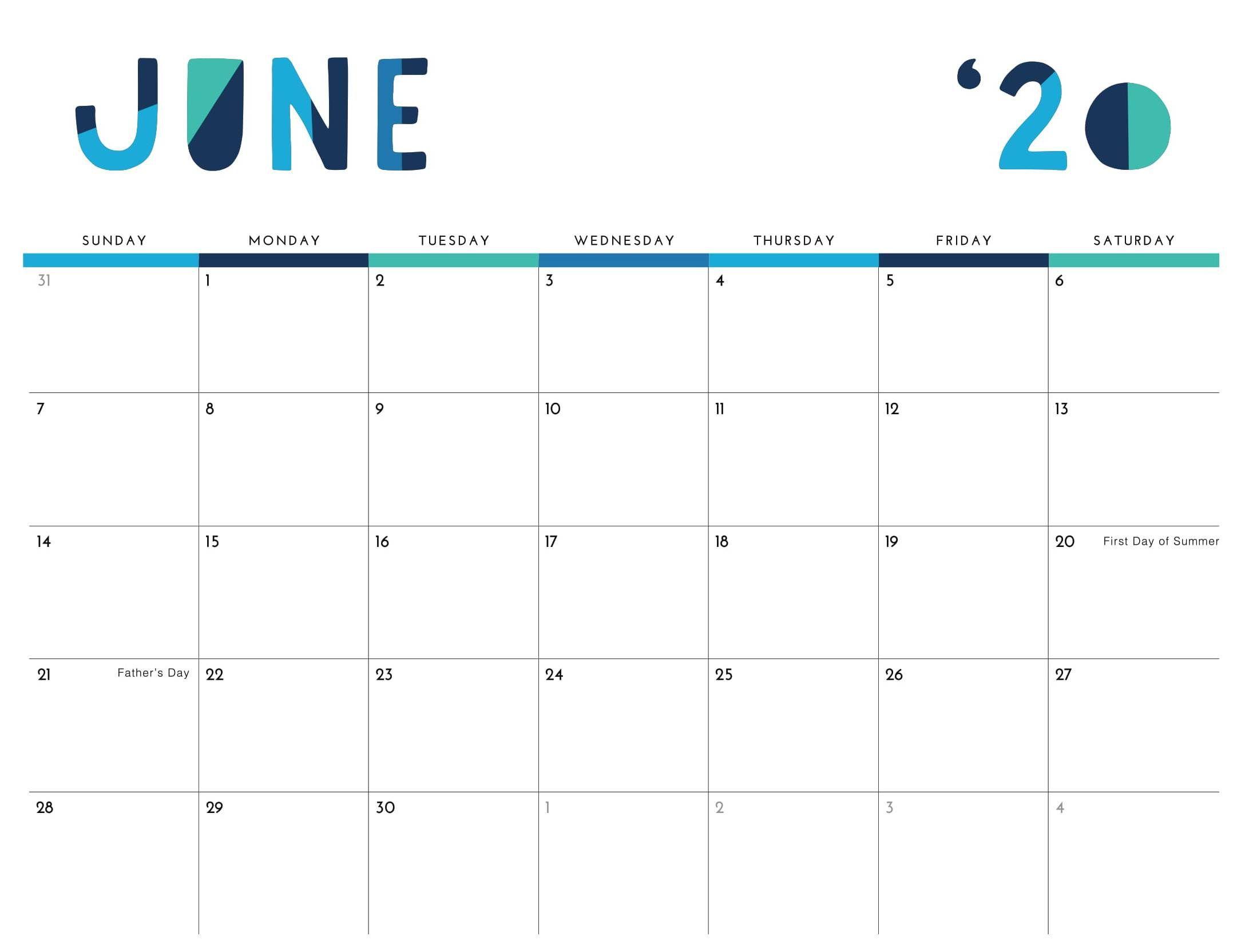 004 Fantastic Printable Calendar Template June 2020 High Def  FreeFull