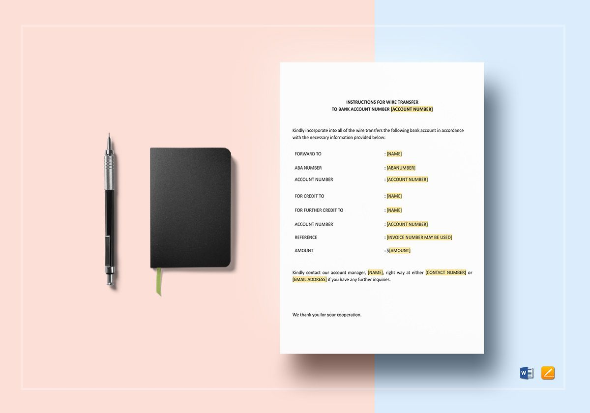 004 Fantastic Wire Transfer Instruction Template Concept  International ChaseFull