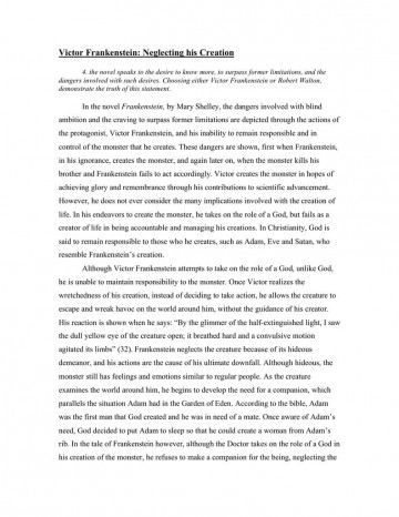 004 Fascinating Frankenstein Essay Idea  Critical Pdf Question Who I The Real Monster360
