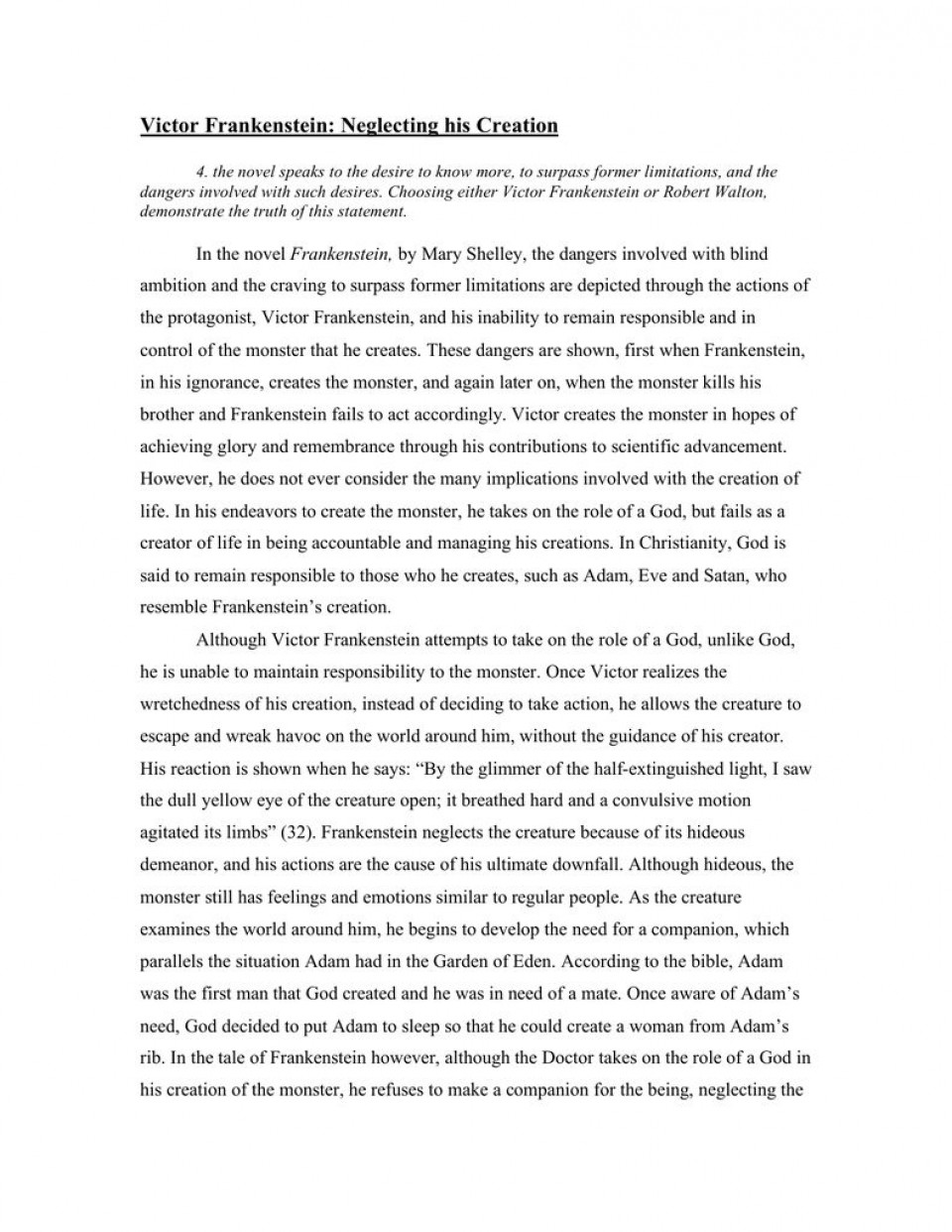 004 Fascinating Frankenstein Essay Idea  Critical Pdf Question Who I The Real Monster960