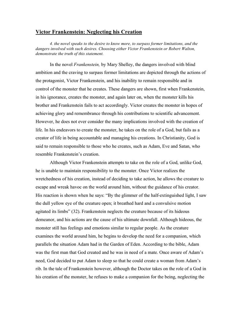 004 Fascinating Frankenstein Essay Idea  Critical Pdf Question Who I The Real MonsterFull