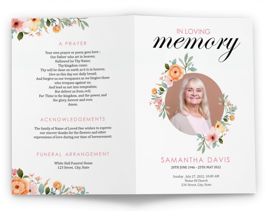 004 Fascinating Free Celebration Of Life Brochure Template Picture  Flyer868