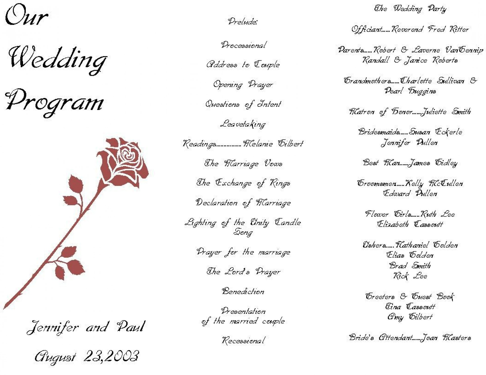 004 Fascinating Free Wedding Ceremony Program Template Concept  Catholic Download1920
