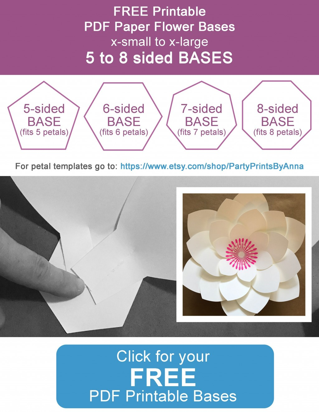 004 Fascinating Paper Flower Template Free Concept  Large Extra PrintableLarge