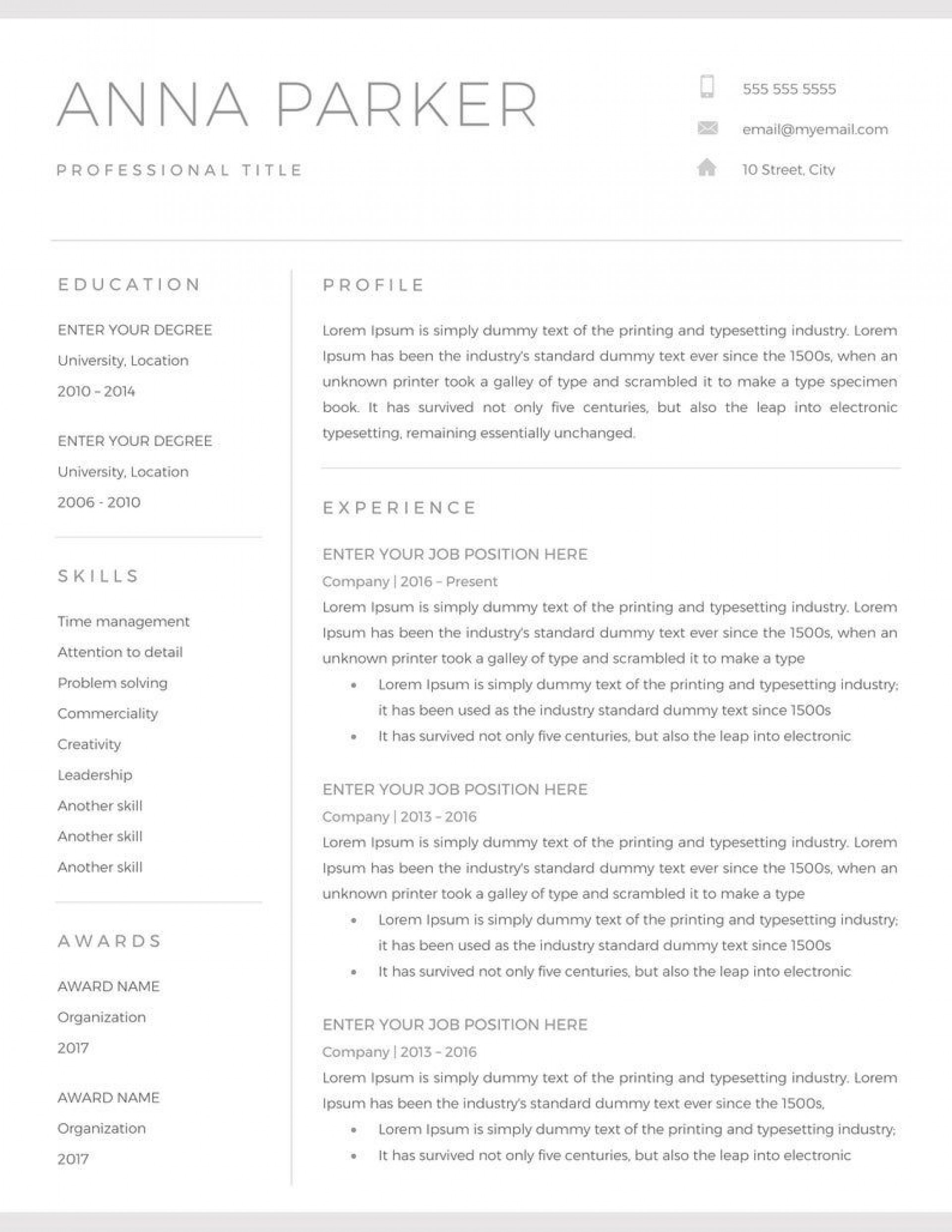 Resume Template For Word Addictionary