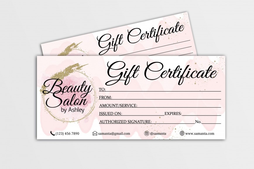 004 Fascinating Salon Gift Certificate Template Design 868
