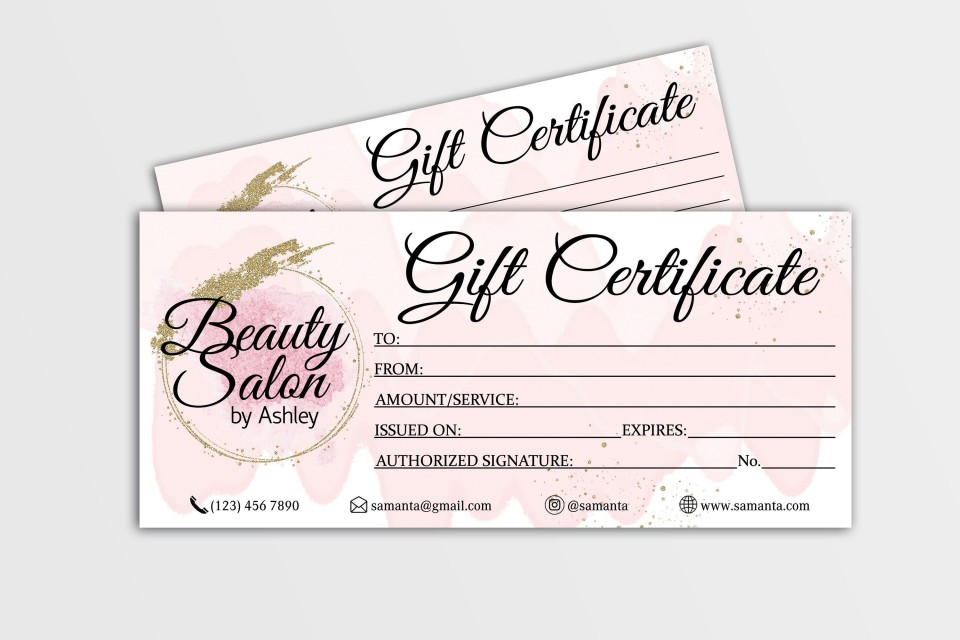 004 Fascinating Salon Gift Certificate Template Design 960