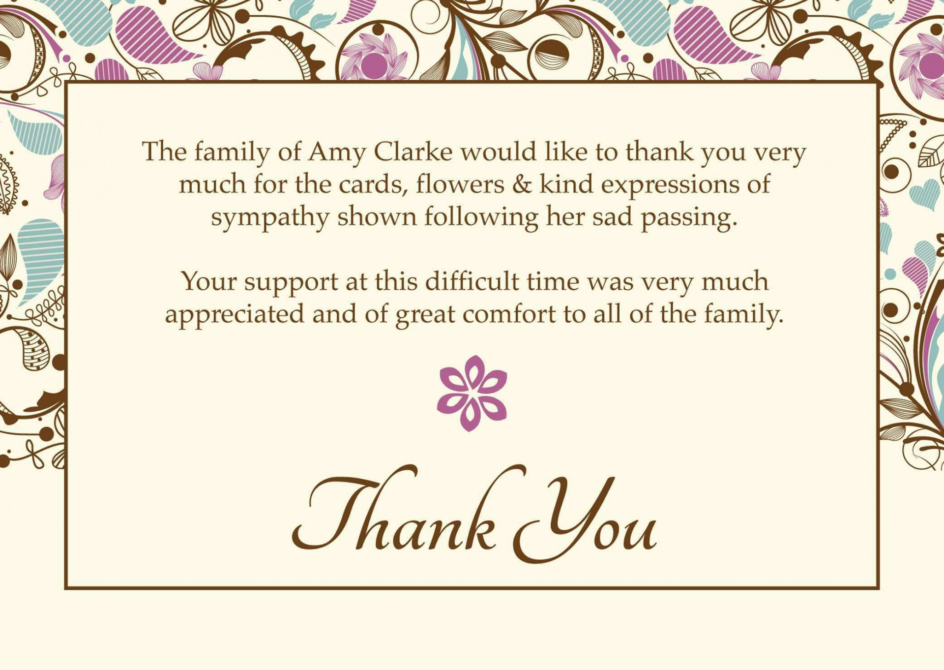 004 Fascinating Thank You Note Template Microsoft Word Picture  Card Free Funeral Letter1920