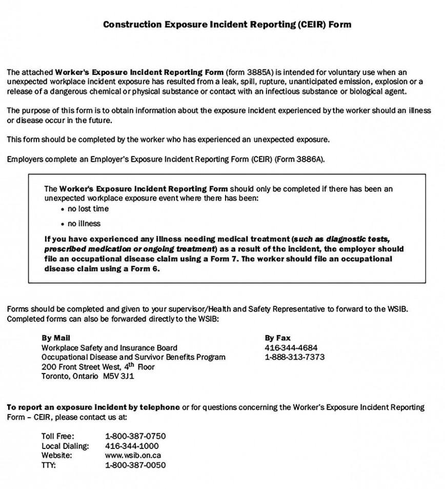 004 Fascinating Workplace Injury Report Form Ontario High Definition  Incident Violence868