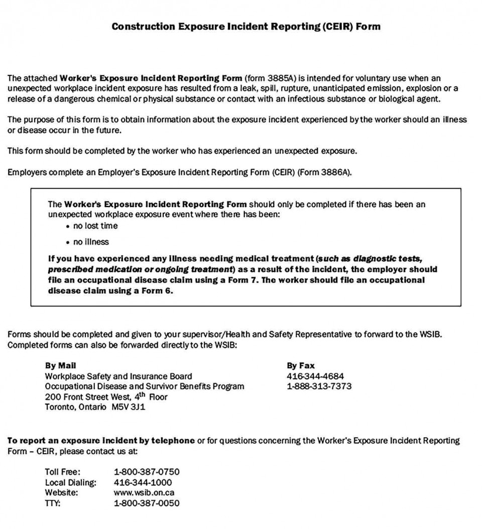 004 Fascinating Workplace Injury Report Form Ontario High Definition  Incident Violence960