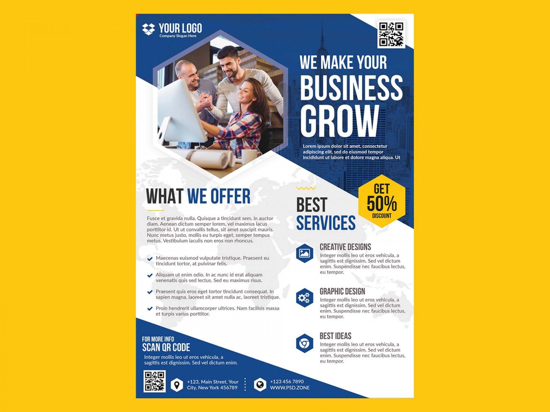 004 Fearsome Busines Flyer Template Free Idea  Psd 2018 Vector Brochure Training1920