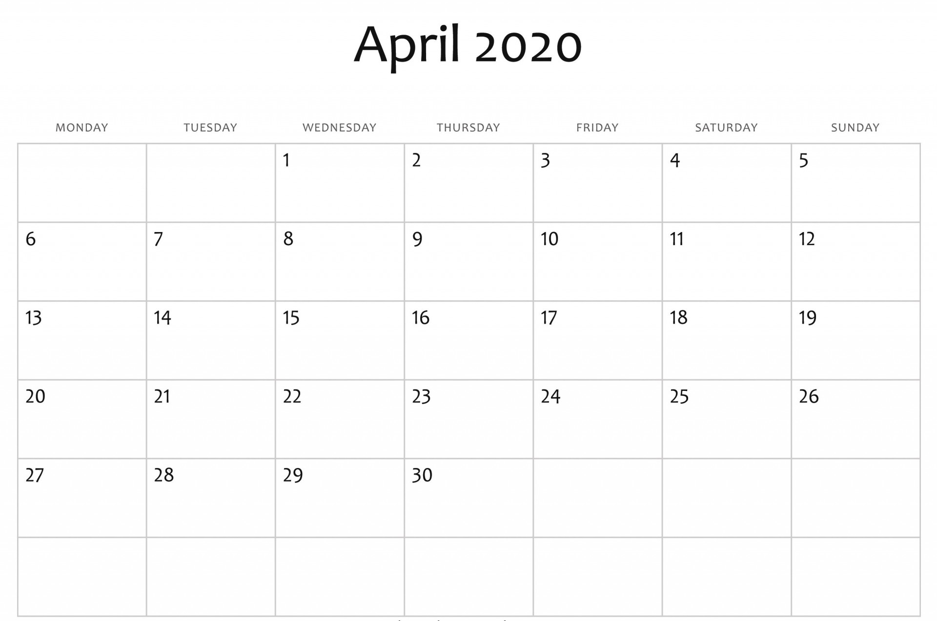 004 Fearsome Calendar 2020 Template Word Image  Monthly Doc Free Download1920
