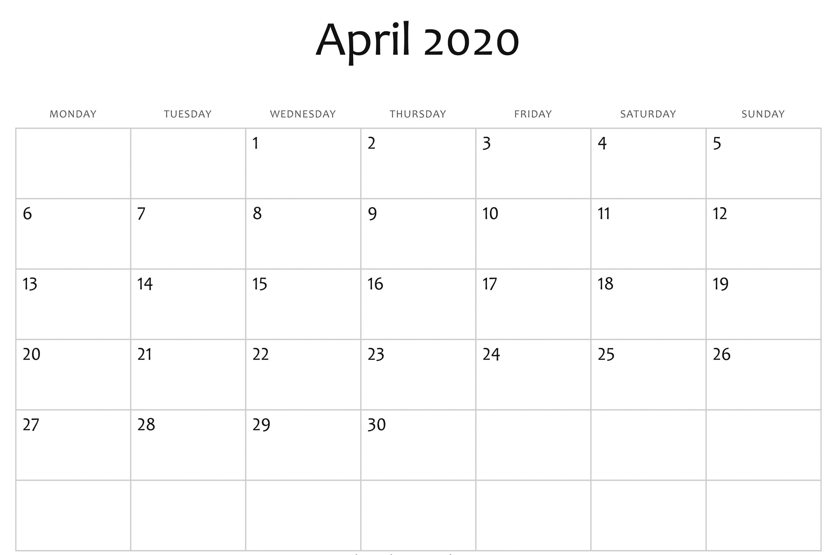 004 Fearsome Calendar 2020 Template Word Image  Monthly Doc Free DownloadFull