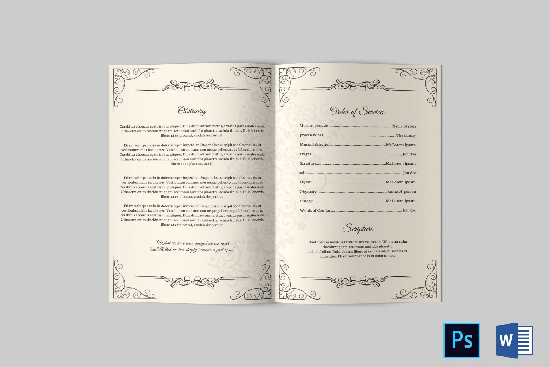 004 Fearsome Catholic Funeral Program Template Design  Mas Layout Free1920