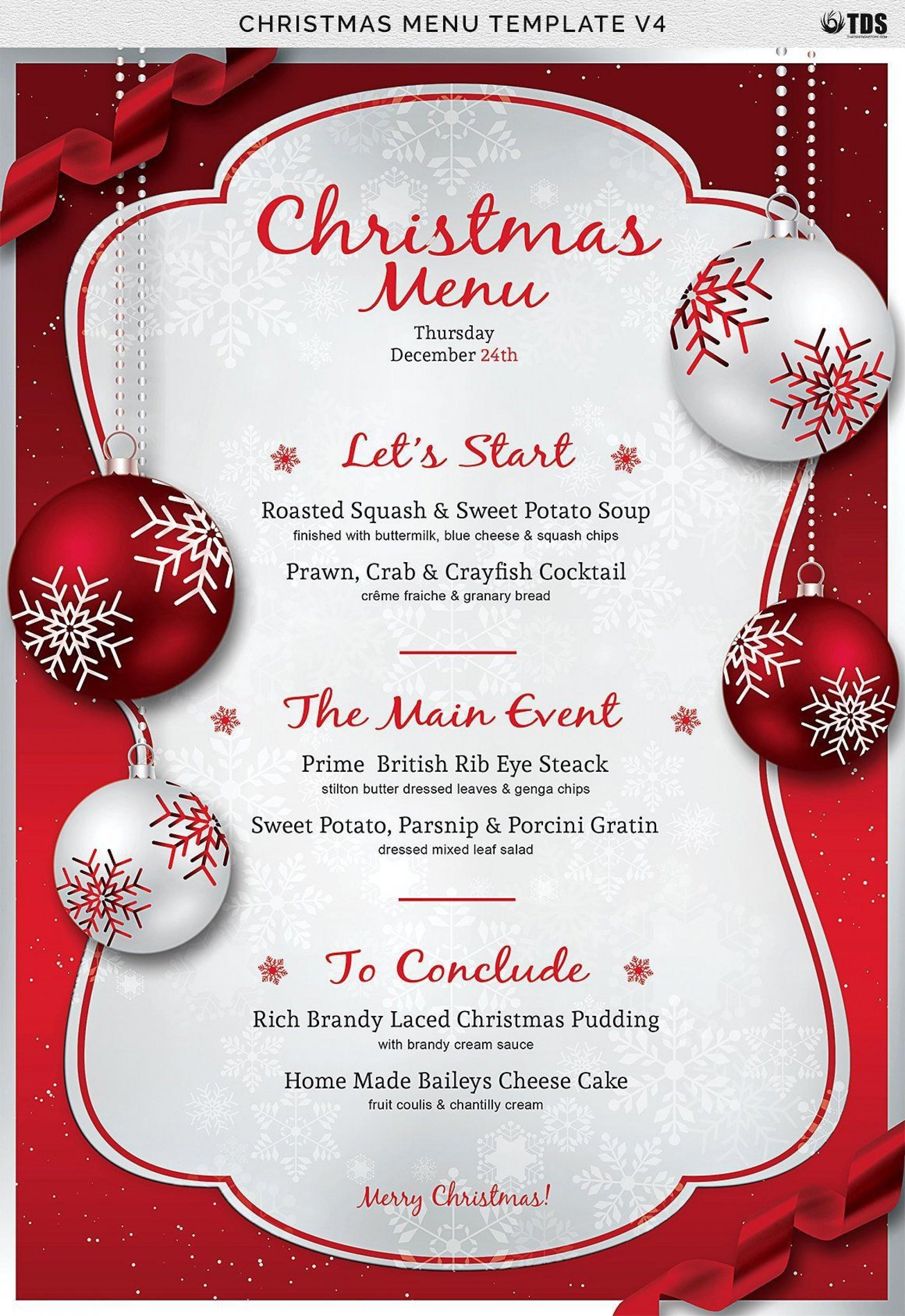 Christmas Menu Template Free Download Word ~ Addictionary